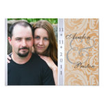 Tan Side Damask Photo Wedding Invitation