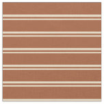 [ Thumbnail: Tan & Sienna Colored Pattern of Stripes Fabric ]
