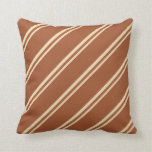[ Thumbnail: Tan & Sienna Colored Pattern of Stripes Pillow ]