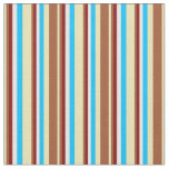 [ Thumbnail: Tan, Sienna, Maroon, White & Deep Sky Blue Colored Fabric ]