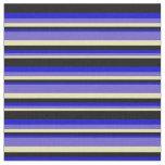 [ Thumbnail: Tan, Slate Blue, Blue, and Black Colored Pattern Fabric ]