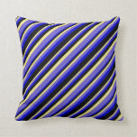 [ Thumbnail: Tan, Slate Blue, Blue, and Black Colored Pattern Throw Pillow ]
