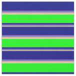 [ Thumbnail: Tan, Slate Blue, Blue, Lime & Pink Colored Lines Fabric ]