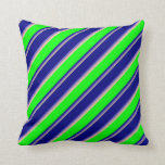 [ Thumbnail: Tan, Slate Blue, Blue, Lime & Pink Colored Lines Throw Pillow ]