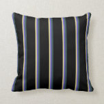 [ Thumbnail: Tan, Slate Blue, Dark Slate Gray & Black Colored Throw Pillow ]