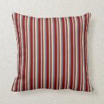 [ Thumbnail: Tan, Slate Gray, and Maroon Colored Stripes Pillow ]