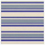 [ Thumbnail: Tan, Slate Gray & Dark Blue Pattern Fabric ]