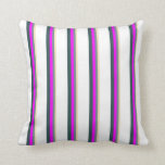 [ Thumbnail: Tan, Slate Gray, Fuchsia, Dark Slate Gray & White Throw Pillow ]