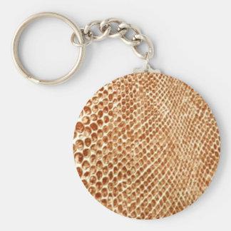 Tan Snakeskin Basic Round Button Keychain