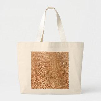 Tan Snakeskin Large Tote Bag