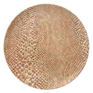 Tan Snakeskin Melamine Plate