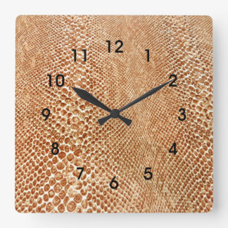 Tan Snakeskin Square Wall Clock