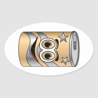 Tan Soda Can Cartoon Sticker