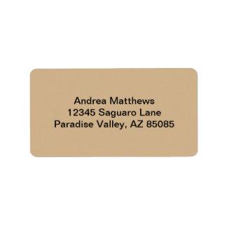 Tan Solid Color Label
