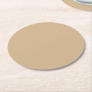 Tan Solid Color Round Paper Coaster