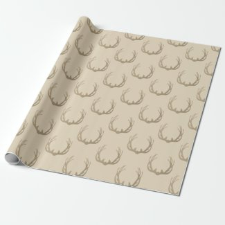 Tan Stag Deer Antler Rack Wrapping Paper