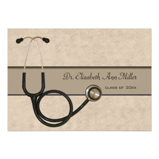 Tan Stethoscope - Graduation Party Invitation