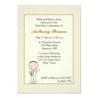 Tan Stripe, Little Boy Communion Invitation