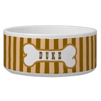Tan Stripes Custom Name Dog Bone 7 Bowl