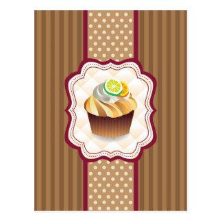 Tan Stripes Lime Cupcake Postcard