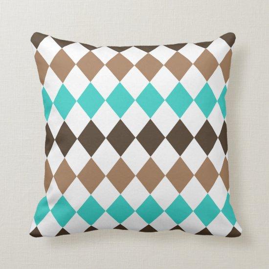 Tan Teal and Brown Diamond Harlequin Throw Pillow