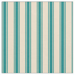 [ Thumbnail: Tan & Teal Colored Lined/Striped Pattern Fabric ]
