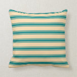 [ Thumbnail: Tan & Teal Colored Lined/Striped Pattern Pillow ]
