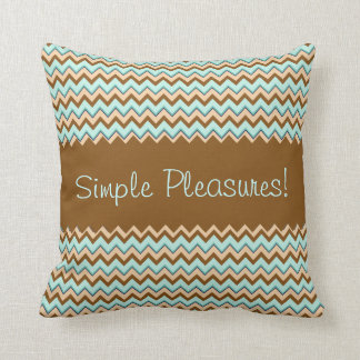 Tan Toast and Turquoise Zigzag Pattern Pillows