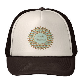 Tan Toast and Turquoise Zigzag Starburst Hat