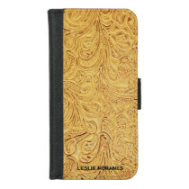 Tan Tooled Leather (faux) Personalized iPhone 8/7 Wallet Case