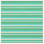 [ Thumbnail: Tan, Turquoise, and Sea Green Colored Stripes Fabric ]