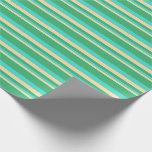 [ Thumbnail: Tan, Turquoise, and Sea Green Colored Stripes Wrapping Paper ]