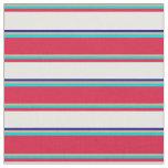 [ Thumbnail: Tan, Turquoise, Crimson, Mint Cream & Dark Blue Fabric ]