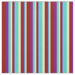 [ Thumbnail: Tan, Turquoise, Purple, and Dark Red Pattern Fabric ]