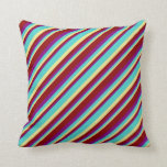 [ Thumbnail: Tan, Turquoise, Purple, and Dark Red Pattern Throw Pillow ]