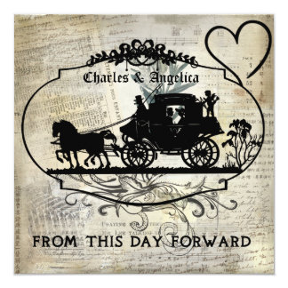 """Tan Vintage From This Day Forward  Wedding Invite 5.25"""" Square Invitation Card"""