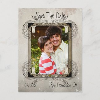 Tan Vintage Grunge Floral Photo Save The Date postcard