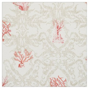 Beach Themed Tan Weathered Vintage Beach Ocean Red Coral Damask Fabric