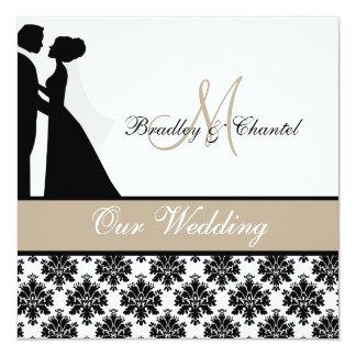 Tan Wedding Couple Wedding Invitation