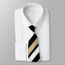 Tan White & Black Diagonally-Striped Tie