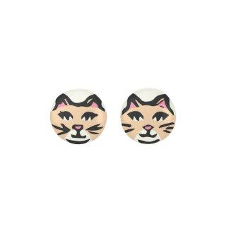 TAN & WHITE CAT, Pink Ears & Black Whisker Earrings