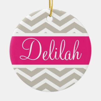 Tan White Chevron Pink Name Ceramic Ornament