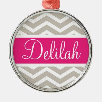 Tan White Chevron Pink Name Metal Ornament