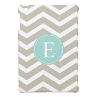 Tan White Chevron Teal Monogram iPad Mini Case
