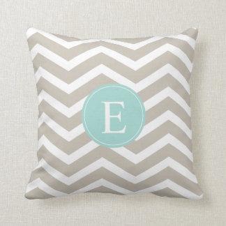 Tan White Chevron Teal Monogram Pillow