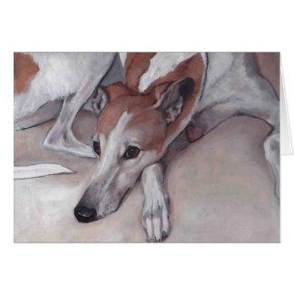 Tan & White Greyhound Dog Art Note Card