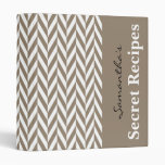 Tan White Herringbone Monogram Binder