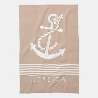 Tan & White Stripes With Nautical Anchor Towel