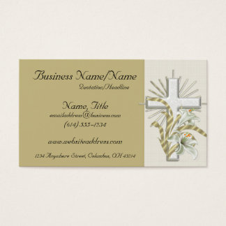 Tan with Beautiful Floral Cross Business Cards