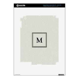 Tan with Black Monogram iPad 3 Decal